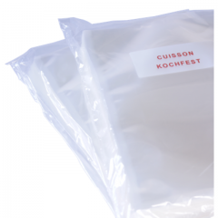 Boilable vacuum bags, suitable for pasteurization up to 100 °C (250 °F).