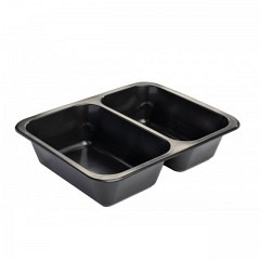 PP Menu tray, 2 compartments